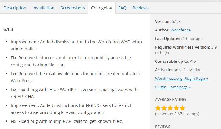 Details of plugin update