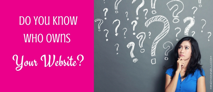 Do You Know Who Owns Your Website? Woman thinking with ?'s on blackboard behind her